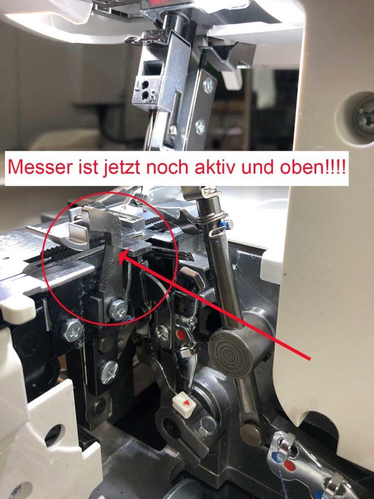 Bernina Overlock Messer abschalten