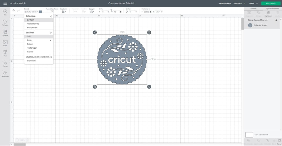 Cricut Design Space Arbeitsfläche