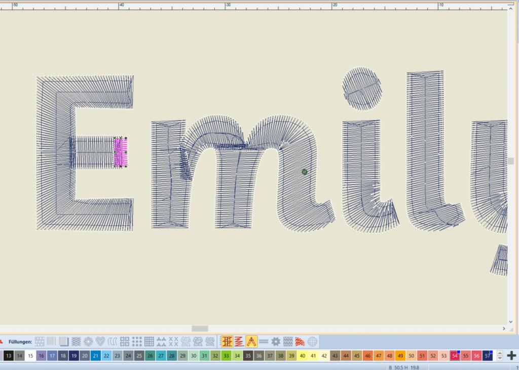 Bernina Schrift für Stickschaum erzeugen