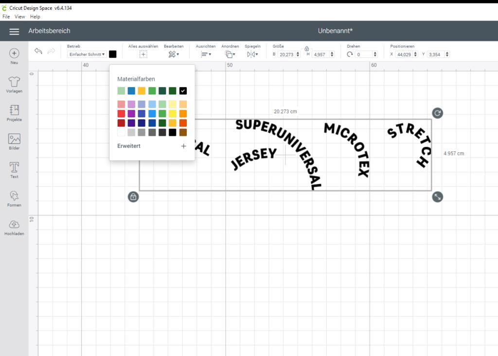 Design Space Farben ändern