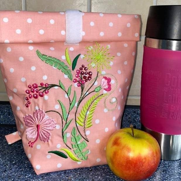 Stickdatei Pflanzen auf Lunchbag