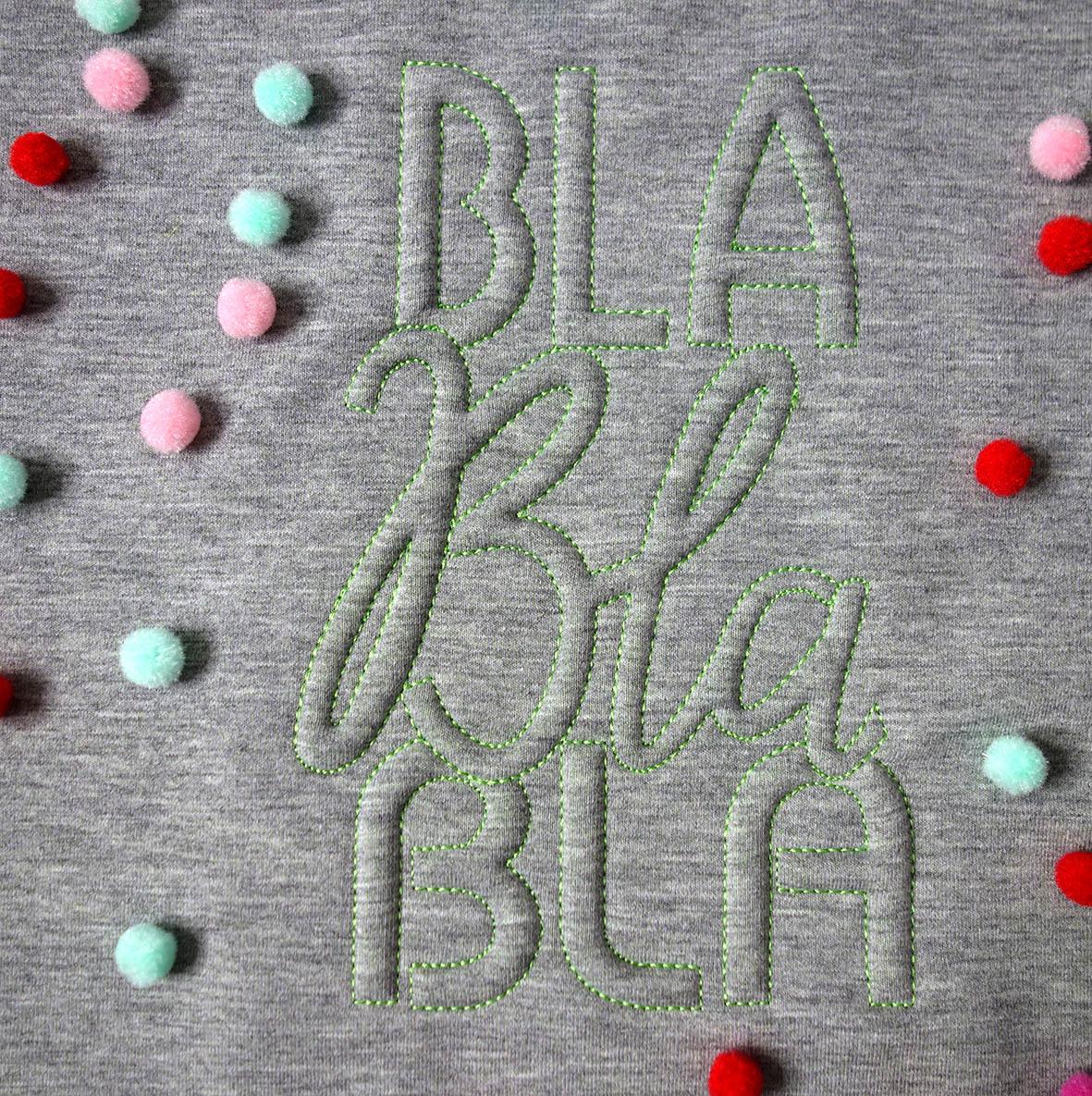 Stickschaum-Schriftzug BlaBlaBla von Mäde! by Kasia