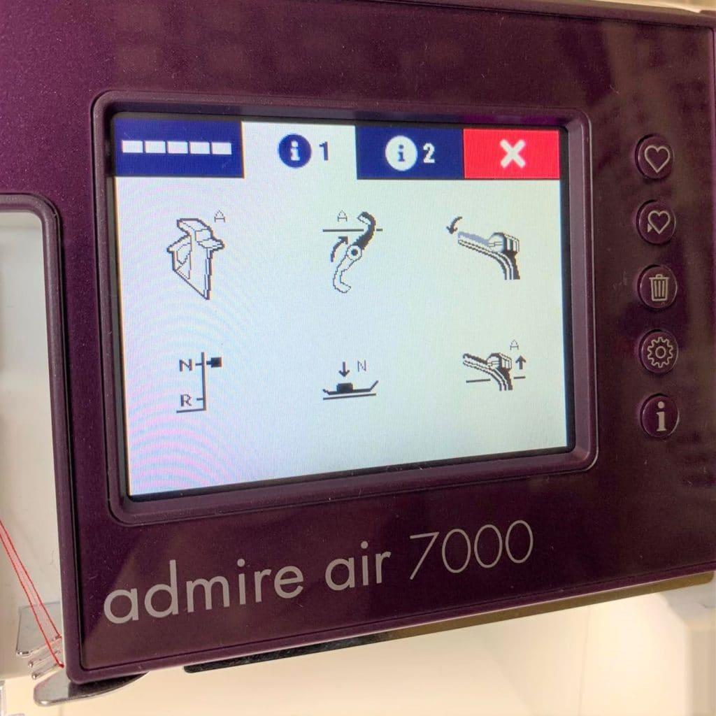 Einstellungen Pfaff Admire Air