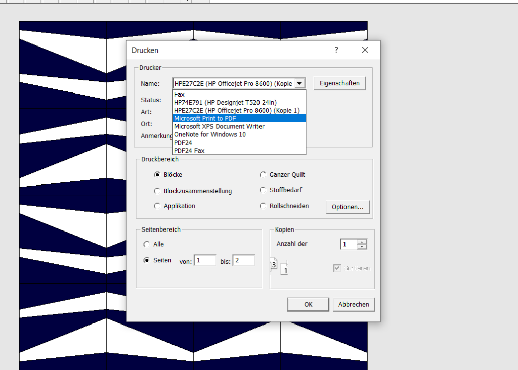 Bernina Quilter speichern als PDF