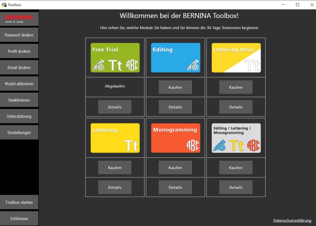Bernina Toolbox Testversion abgelaufen