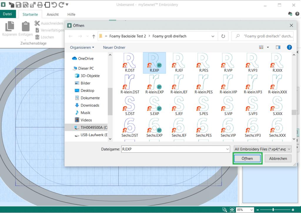 mysewnet Datei hinzufügen