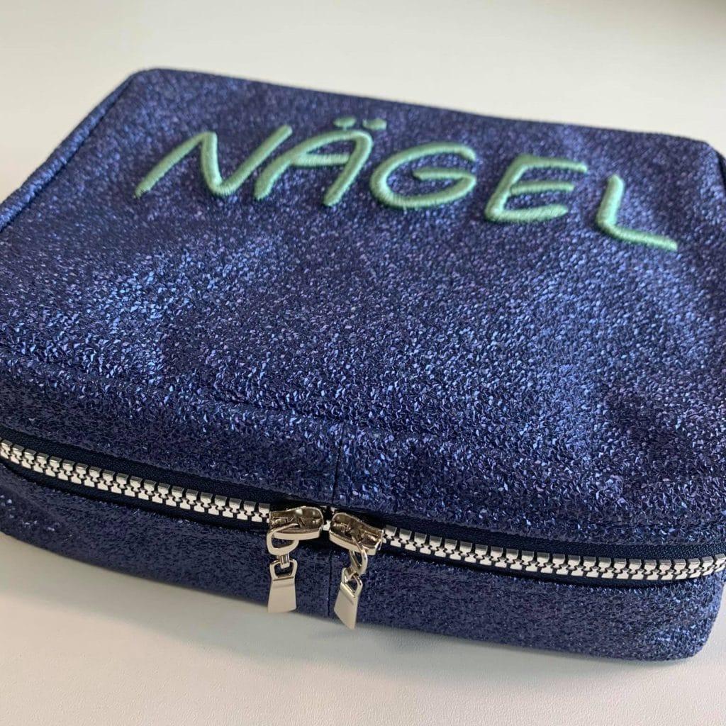 Schrift Stickschaum Tasche