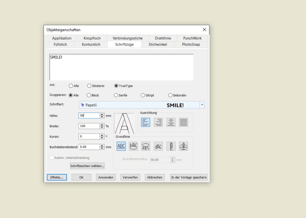 Bernina V8 Text erstellen