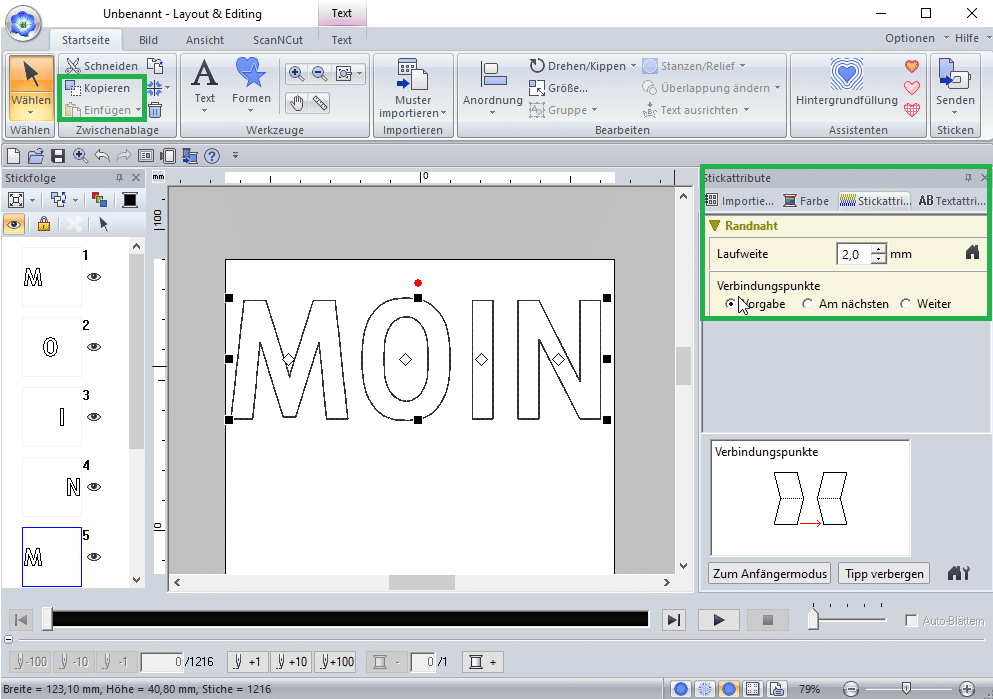 PE-Design 11 Text duplizieren