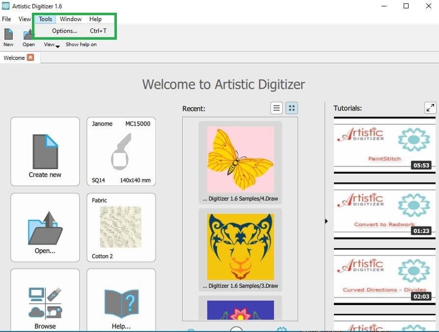 JANOME Artistic Sticksoftware – Sprache umstellen